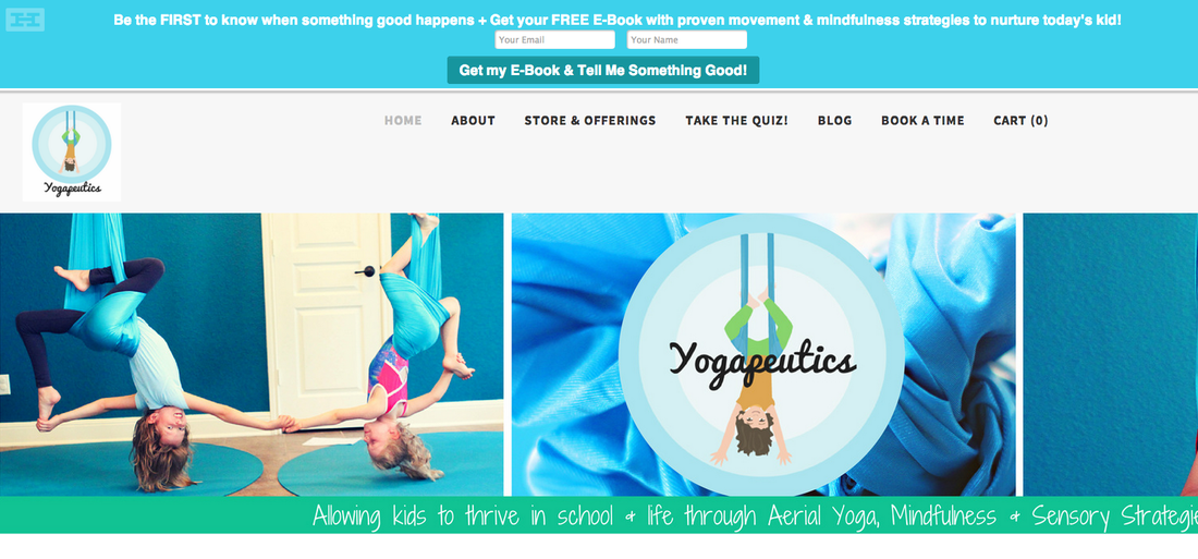 HelloBar on Yogapeutics Homepage